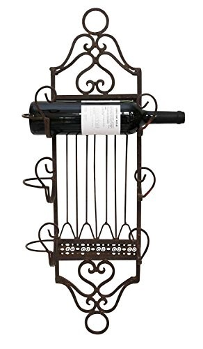Weinregal 75cm Wandregal Wein Regal Weinflaschen Flaschenregal Antik-Stil braun