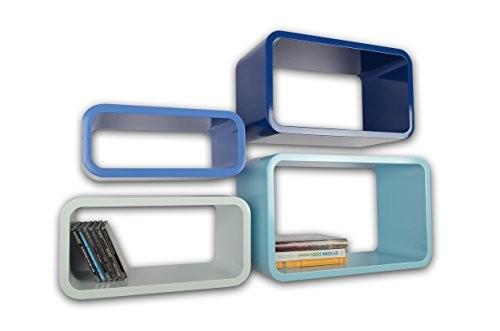 Lackierte Regale Verstärkte MDF Retro Design Cube 4er Set Regal Wandregal Deko Würfel Hängeregal CD DVD Lounge Cuben Z001 (Blau)
