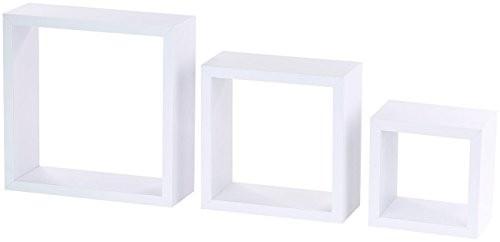 Carlo Milano Bücherregal: 3er-Set Quadratische Wandregale, bis 25 x 25 x 9 cm, weiß (Regal-Möbel)