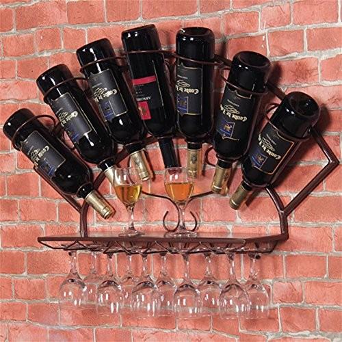 Z & Hao Eisen Regal Wandregal Wein Glas Rack Goblet Halter Wohnzimmer Küche Bar Crafts braun