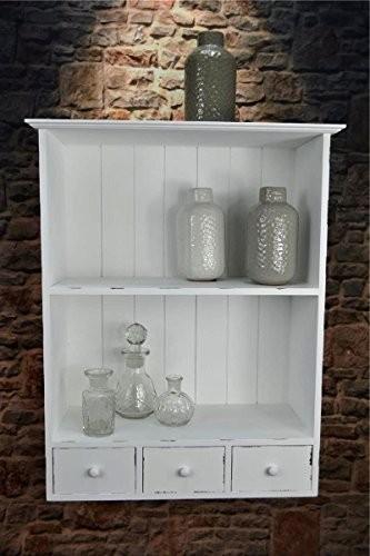 Livitat® Küchenregal Wandregal Gewürzregal Badregal Weiß Landhaus Shabby Chic SP64