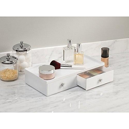 InterDesign Drawers Make-Up-Organizer | hochwertige Aufbewahrungsbox für Schminke, Kosmetika & Co. | Schubladenbox mit 2 breiten Schubladen | Kunststoff weiß