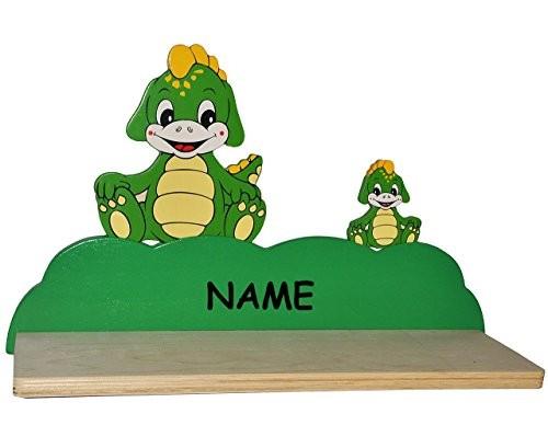 Wandregal aus massiven Holz - Dinosaurier / Krokodil / Drache / Dino incl. Namen - Kinderzimmer Wandboard - Tiere - für Kinder Kinderregal / Bücherregal / Hängeregal / Regal Tier - Mädchen Jungen