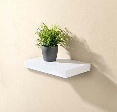 Carlo Milano Regal: Wandregal mit versteckter Schublade, 40 x 5 x 25 cm, weiß (Nachttisch Regal)