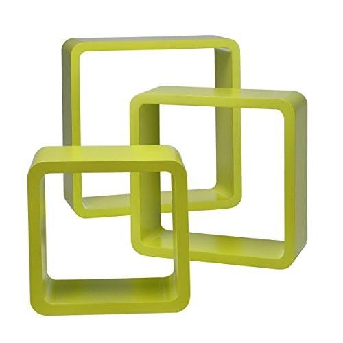 Wandregale Würfel 3erSet quadratisch Cube Hängeregale Retro Design Würfelregale, Farbe:hellgrün