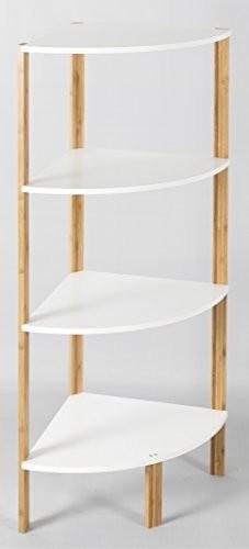 Elbmöbel Eckregal Weiß Braun aus BAMBUSHOLZ Bad Bücherregal Küchenregal Standregal - 4 Etagen / Ablagen 34 x 34 x 106 cm