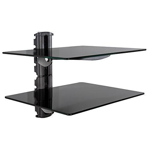 TecTake® TV Wandregal Glasregal Wandhalterung schwarz (2 Ablageböden) für Blu-ray DVD Player Hifi Geräte
