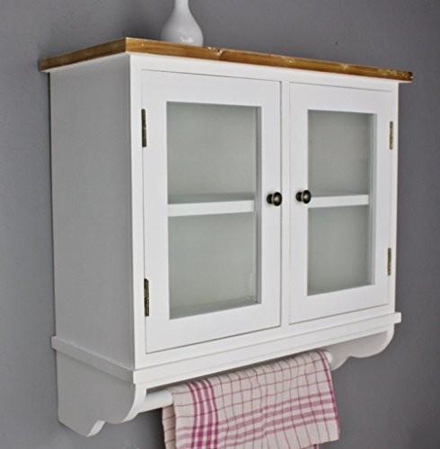 elbmöbel Wandregal für die Küche | Garderobe aus Holz in braun und weiß | Regal im Landhaus Stil | Ideal als hängender Wandschrank mit Glastüren und Handtuchstange | In der Wohnung am besten als Küchenregal