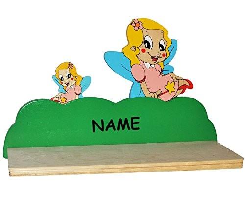 Wandregal aus massiven Holz - Fee / Elfe / Prinzessin mit Stern incl. Namen - Kinderzimmer Wandboard - für Kinder Kinderregal / Bücherregal / Hängeregal / Regal Schmetterling