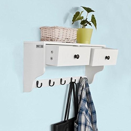 SoBuy® Wandschrank Wandgarderobe Wandregal Hängeregal mit 2 Schubladen und 5 Haken MDF weiß, FRG178-W
