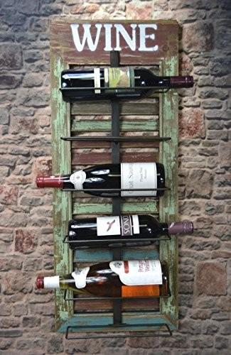 Livitat® Wandregal Wein Weinregal 77 x 31 cm Flaschenregal HOLZ Shabby Chic Vintage LV5012