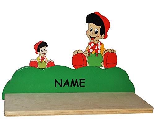 Wandregal aus massiven Holz - Pinocchio - kleiner Junge incl. Name -für Kinder Kinderregal / Bücherregal / Hängeregal / Regal Tier - Hunde Helikopter - Kinderzimmer Wandboard - Tiere