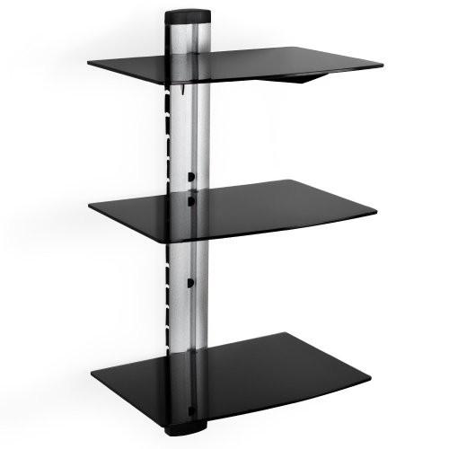 TecTake TecTake Wandregal Glasregal TV Wandhalterung für Blu-ray DVD Player Receiver Hifi Geräte - diverse Modelle - (3 Ablagen Schwarz/Silber (400349))