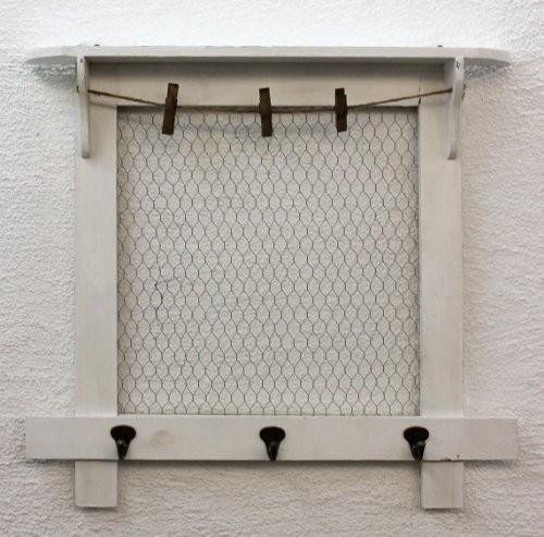 DanDiBo Memoboard Pinnwand 58 cm Loft 12046 Wandregal Vintage Shabby Hakenleiste Haken