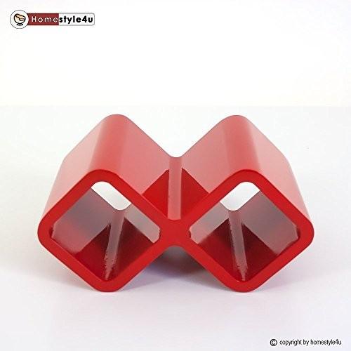 Homestyle4u Retro Cube Design Wandregal Wandboard Regal Würfel Weinregal Wein rot