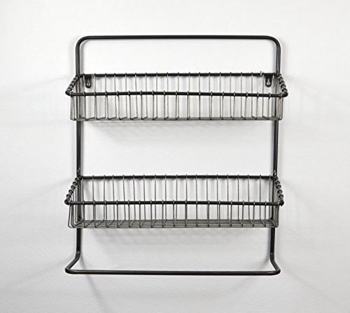 Hängeregal im Industrie Stil aus Metall - Wandregal im Vintage Shabby Style - Badregal - Küchenregal
