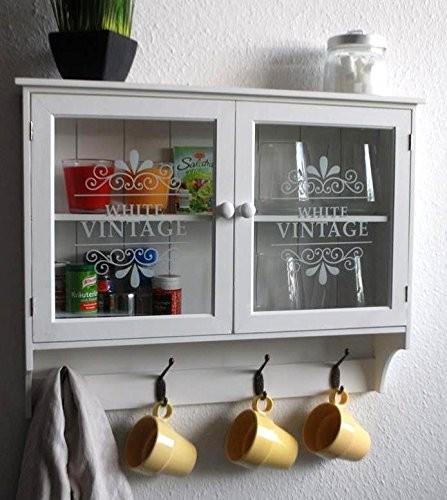 Livitat® Wandschrank Küchenregal Hängeschrank Glastüren Landhaus Schrank SP65
