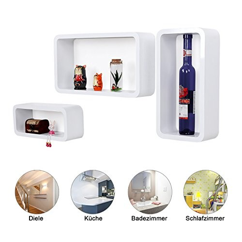 Songmics Wandregal Retro Lounge Cube Regal, Belastbarkeit 15 kg, MDF Holz, weiß, 44/39/34 cm LWS97W