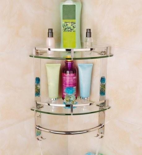 LI JING SHOP- Edelstahl-Badezimmer-Regal-Wand-Glas-Regal-Eck-Dreifache-Korb-kosmetische Speicher-Regale ( größe : 24*24*40CM )
