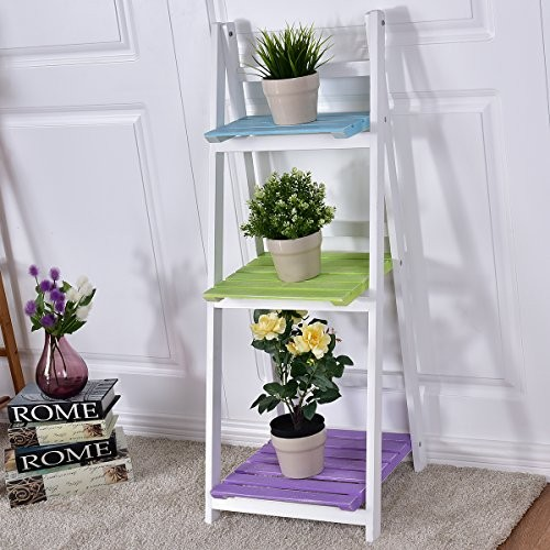 Costway Leiterregal mit 3 Böden Standregal Treppenregal Pflanzenregal Holzregal Stufenregal Wandregal Dekoregal Blumenregal klappbar Holz