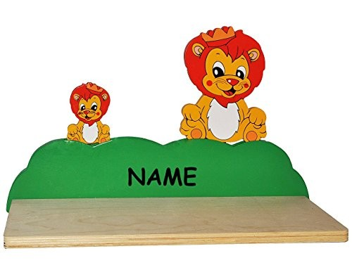 Wandregal aus massiven Holz - Löwe / Zootiere incl. Name -für Kinder Kinderregal / Bücherregal / Hängeregal / Regal Tier - Löwen - Kinderzimmer Wandboard - Tiere