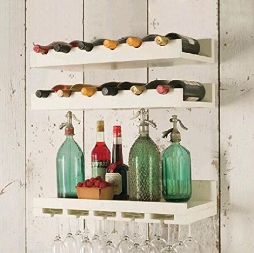 Jahrgangswein aus massivem Holz rack Mount Weinregal Wein Glas Rack Kombination Lagerung Wandregal , white