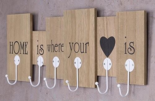 Wandgarderobe aus Holz mit 6 Haken in braun mit Schriftzug - Home is where your heart is - 60x21x5 - Wanddekoration Dekoration Garderobe Wandhaken Wanddeko