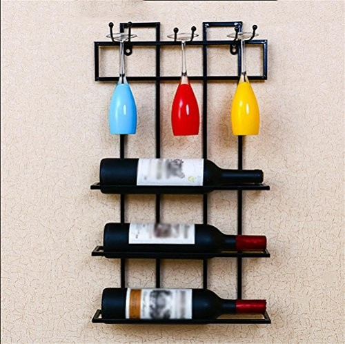 Eisen Regal Wandregal Wein Glas Rack Goblet Halter Wohnzimmer Küche Bar Crafts schwarz
