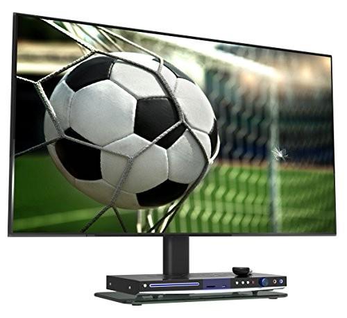 RICOO LCD TV Ständer Fernsehtisch Standfuss Glas Standfuß Halterung FS304B Höhenverstellbar Fernsehstand LED Fernseher Stand Flachbildschirm Aufsatz Möbel Rack VESA 400x400 Tischständer Universal