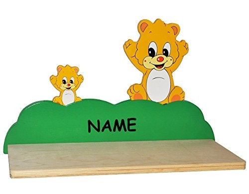 Wandregal aus massiven Holz - Teddy / Bär incl. Namen - Kinderzimmer Wandboard - Tiere - für Kinder Kinderregal / Bücherregal / Hängeregal / Regal Tier - Teddybär