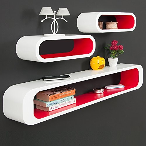 3er Set Wandregal im Retro Stil - Design Lounge Regal Bücherregal Hängeregal Holzregal - Modellauswahl Cube weiß/rot
