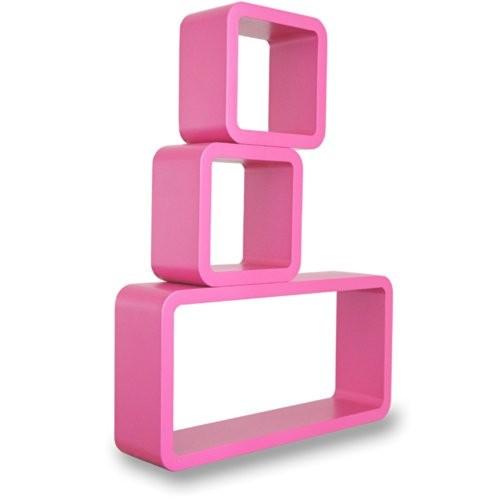 MOJO 3er Set Wandregal Retro Regal Vintage Cubes Design Shabby Chic Holzregal mc81