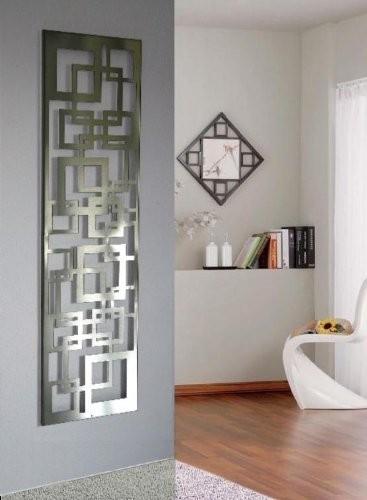 Wandgarderobe / Garderobe Design Quadrat, 140x40x2 cm, Edelstahl mattiert (Marke: Szagato, Made in Germany) (Kleiderständer, Garderobenständer, Wandpaneel, Wanddeko)