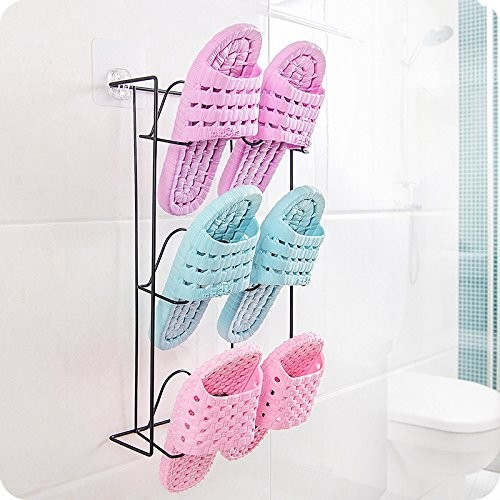 e-meoly 3-Tier-Schuhe Regal Metall Wand montiert Schuhe Rack für Diele über der Tür Schuhe Kleiderbügel Organizer zum Aufhängen Schuhe Ständer schwarz