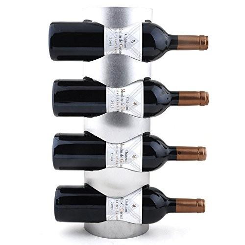 Edelstahl Weinregal Flaschenregal Wein Flasche Wandhalter 2 Größe zur Auswahl (Weinregal 4 Flaschen )