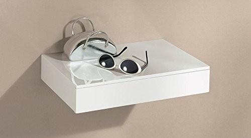 Wandregal mit Schublade | CASSETO | 45x25x8 cm- weiß hochglanz