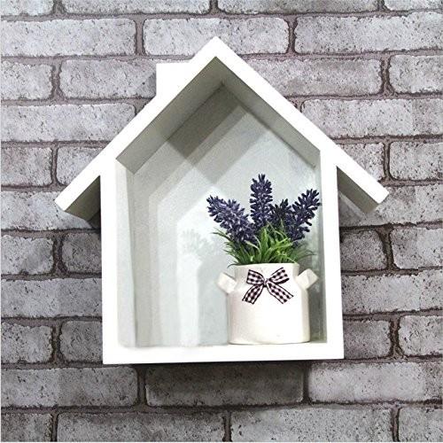 margueras Akkus Wandregal aus Holz Form der kleine maison-étagère Wand Häuser aus Holz weiß