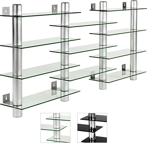 STILISTA® CD DVD Wandregal, Varianten: Klarglas / Schwarzglas, Aluminium Tubes, Höhe 60 cm, für 300 CDs, Rack Regal Glas