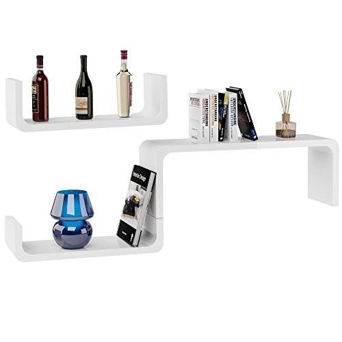 3er Set Wandregal im Retro Stil - Design Lounge Regal Bücherregal Hängeregal Holzregal - Modellauswahl U-Form weiß