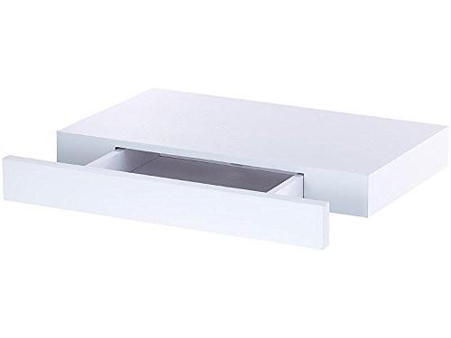 Wandregal mit Schublade | Bücherregal | Hängeregal | Regal | Nachtkästchen (Weiß)