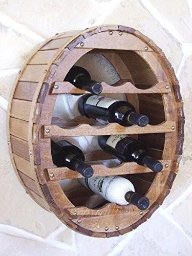 DanDiBo Weinregal Weinfass für 12 Flaschen Braun gebeizt für die Wandmontage Wandregal zum aufhängen Flaschenregal