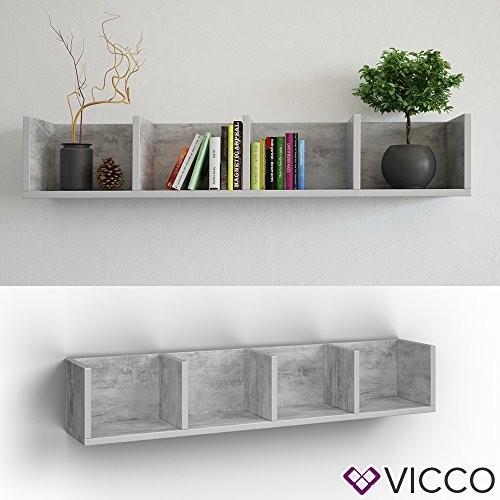 VICCO Wandregal 90 cm Beton - für CD DVD PC Spiele Cover Medienregal Regal Archiv Mediathek