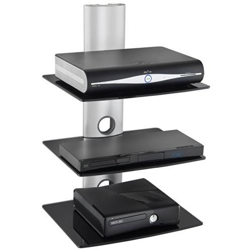 VonHaus 3 x schwebendes Glasregal mit verstärkten Hartglas für DVD Spieler/ Kabelboxen/ Spielkonsolen/ TV Zubehoer - Silber