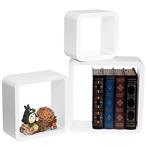 WOLTU RG9236ws Wandregal Schweberegale, 3er Set Lounge Cube Regal, Retro Bücherregal, MDF Holz, DIY zum Hängen, Weiß