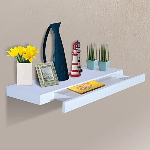 Wandboard Wandregal Hängeregal mit Schublade Regal Ablage, MDF, Weiß, W80 x D25 x H5cm