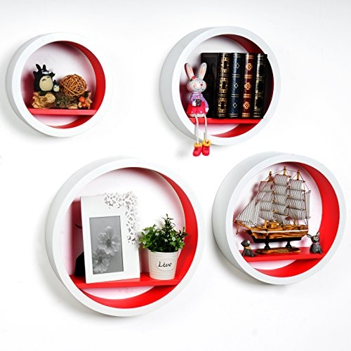 WOLTU RG9231nrt-a Rund Schweberegale Wandregal, Holzregal Lounge Cube Regal, Retro Bücherregal, DIY zum Hängen, 4er Größe Set, Weiß-rot