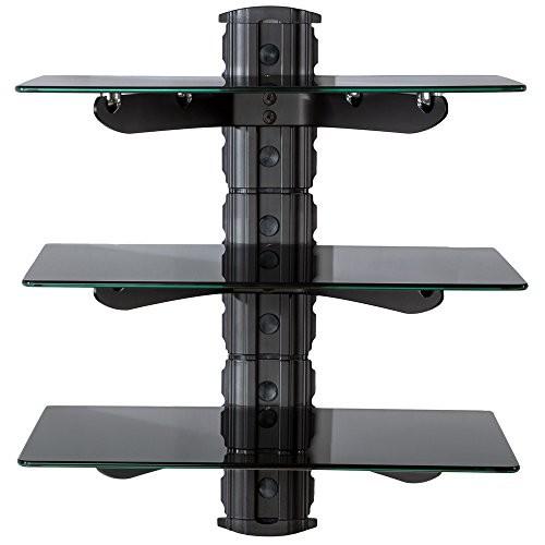 TecTake Wandregal Glasregal TV Wandhalterung schwarz (3 Ablageböden) für Blu-ray DVD Player Hifi Geräte