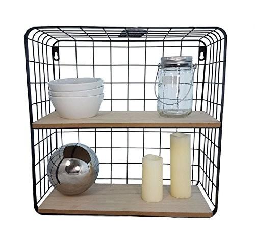 Gitter Wandregal mit 2 Holzablagen 40x40x15 cm - Modernes Küchenregal oder Badregal aus Metall und Holz