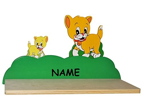 Wandregal aus massiven Holz - Katze / Kätzchen incl. Namen - Kinderzimmer Wandboard - Tiere - für Kinder Kinderregal / Bücherregal / Hängeregal / Regal Tier - Katzen