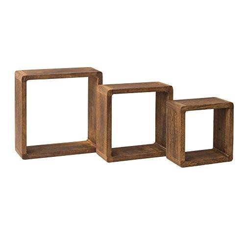 Rebecca Srl 3er-Set Wandregale Regale quadratisch Naturholz dunkel Cube Vintage Chic Wohnzimmer Zuhause (Code RE4180)